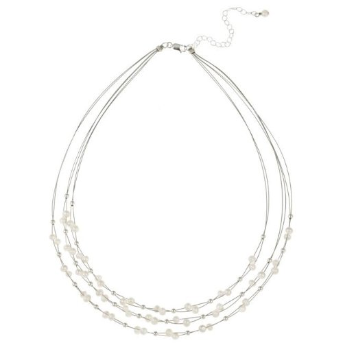 Stonique Creations Sterling Silver Freshwater Pearl 3-row Necklace (4-5 mm)