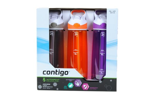 Contigo Addison 24 Oz (Set Of 3) Leakproof Water Bottles - Orange, Purple, Brown/Gray front-473911