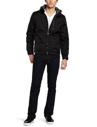 CK男士带帽夹克 黑$33.78 Calvin Klein Jeans Men's Nylon Hooded Jacket