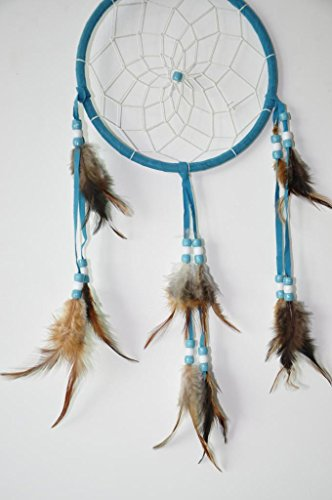 "Blue Dream Catcher Traditonal Native American Dreamcatcher with Feathers 6.1"" Diameter 18"" Long Wall Hanging Ornament"