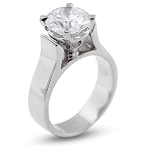 3.07 CT Exc-Cut Round D-SI1 GIA Cert Diamond Platinum Cathedral Solitaire Engagement Ring 11.82gr