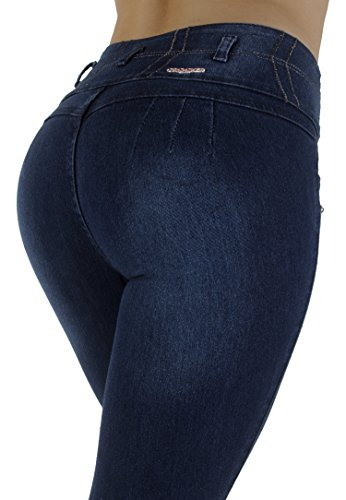 Style M1133 - Colombian Design, High Waist, Butt Lift, Skinny Jeans in Dark Blue Size 1 (Junior Jeans Size 1 compare prices)