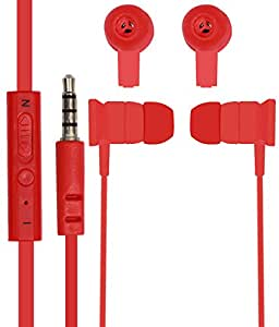 Jkobi In Ear Bud Earphones Mini Size Handsfree Headset with MIC For Sony Xperia E3 D2203 With 3.5mm Jack - Red