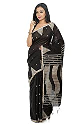 B3Fashion Traditional Party wear Handloom Black Gicha Silk Saree with Geometrical pattern weaved in tussar all over the body with temple border and tussar weaved pallu with matching blouse peice