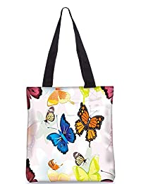 Snoogg Abstract Butterflies Pattern Design Digitally Printed Utility Tote Bag Handbag Made Of Poly Canvas