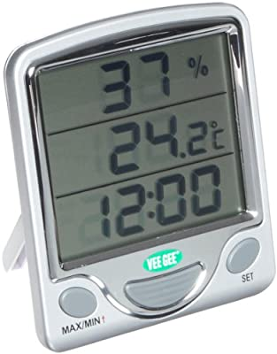 VeeGee Maximum and Minimum Digital Dual-Scale Thermometer, with Hygrometer and Clock, 0 to 50 Degree C and 32 to 122 Degree F from Vee Gee Scientific