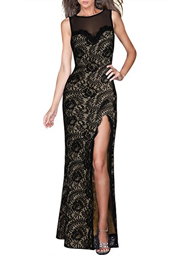 Miusol Women's Sleeveless Long Black Lace Split Side Evening Formal Dress, Black, X-Large