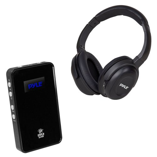 Pyle Wireless Headphones And Amplifier Package - Pih20 Uhf Wireless Headphones With Iphone/Ipod Dock Transmitter And Aux Input - Phe7Ab Usb Dac Headphone Amplifier