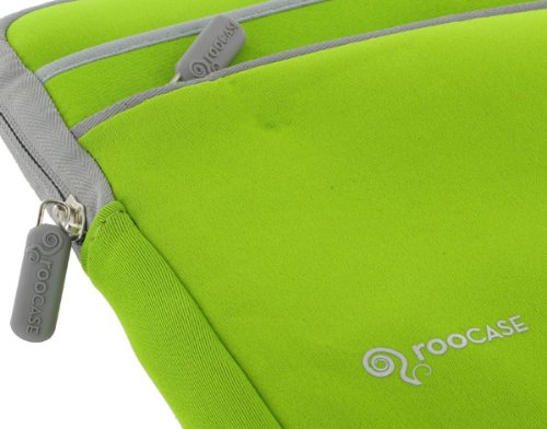 Netbook Neoprene Sleeve Case for ASUS Eee PC Seashell 1001P-PU17-WT 10.1-Inch White (Invisible Zipper Tri-Pocket - Neon Green)