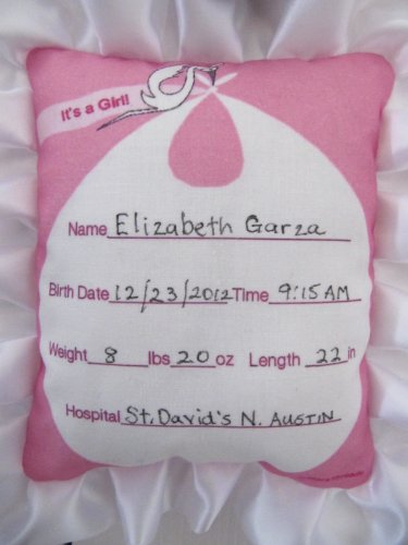 Baby Girl Birth Announcement Door Hanger with Stork