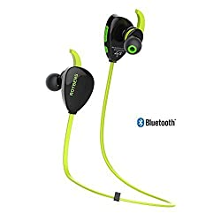 Roybens Groove Wireless Bluetooth 4.0 Stereo Sport Earphone with Built-in Microphone, Hands-free Calling Noise Isolating Sweat Proof Lightweight Earbuds for Gym, Running, Jog, Hiking, Exercise Green