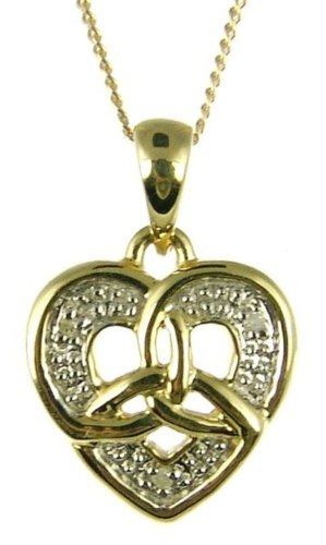 9ct Yellow Gold Ladies' Diamond Set Celtic Trinity Knot Heart Pendant with 46cm Curb Chain