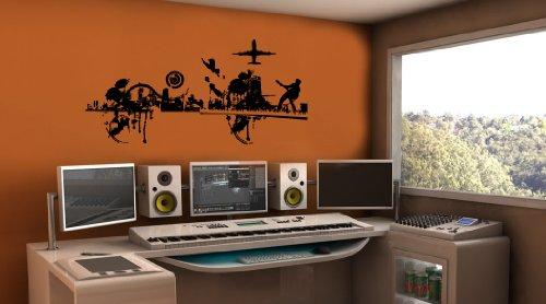 Wall Mural Vinyl Sticker Decor Music Dance City Headphones Al037
