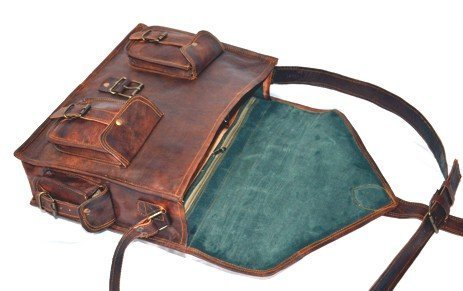 Handmadecraft ABB 18 Inch Vintage Handmade Leather Messenger Bag for Laptop Briefcase Satchel Bag 4