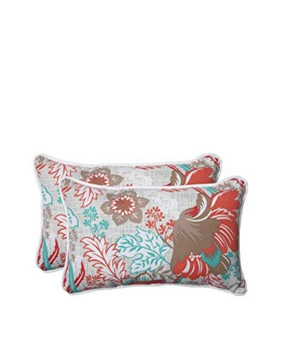 Pillow Perfect Set of 2 Indoor/Outdoor Suzanne Spring Lumbar Pillows, Multi