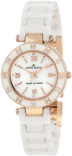 b97461013 Anne Klein Women's 10/9460RGWT Swarovski Crystal Accented Rosegold-Tone  White Ceramic Watch