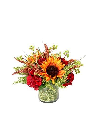 Creative Displays Orange Sunflowers, Wild Astilbe, & Hydrangeas in Green Bean Embellished Contai...