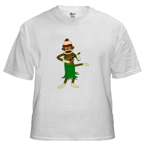 Sock Monkey Ukulele Hula White T-Shirt White T-Shirt by CafePress