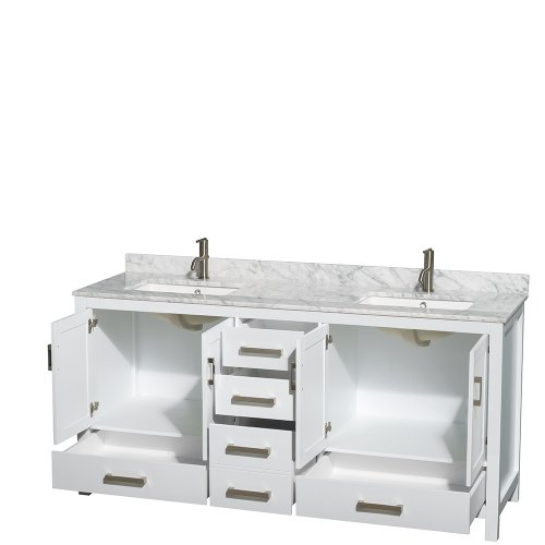 Wyndham collection sheffield 72 inch double bathroom vanity in white white carrera marble for Sheffield 72 double bathroom vanity