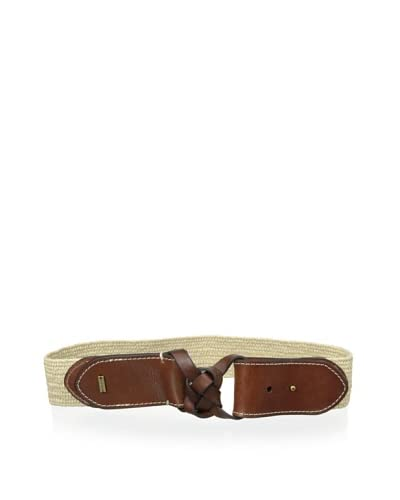 Tommy Hilfiger Women's Stretch Straw Belt with Leather Tabs
