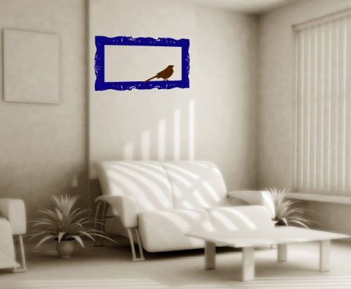 Baroque Frame With Birdie - 2 Color Modern Vinyl Wall Art Decal Stickers Decor Graphics front-194383