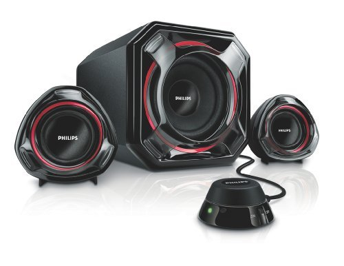 Philips SPA5300/05 Multimedia Speaker 2.1 - Black and Red