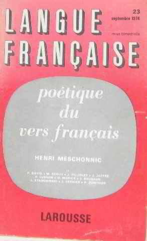 Langue française poétique du vers français septembre 1974