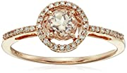 10k Rose Gold Morganite Center and Diamond (1/10cttw, I-J Color, I2-I3 Clarity) Halo Ring, Size 6