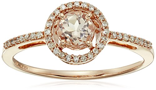 10k Rose Gold Round Morganite and Diamond Halo Ring