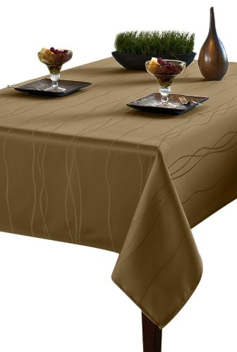 Benson mills gourmet spillproof fabric tablecloth linen for Table runners 52 inches