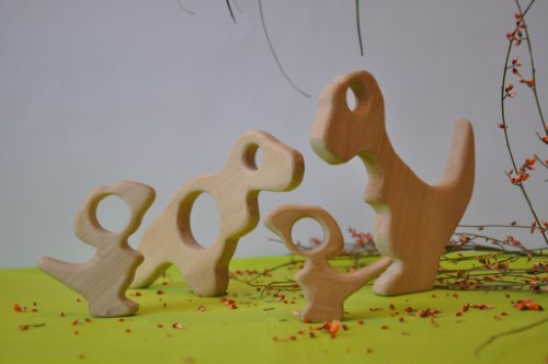 Natural Wood Teether. T-rex Family Set by Barin Toys