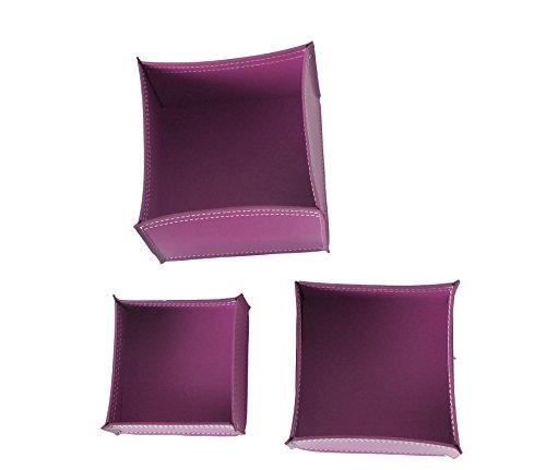 KOME 531: Set svuota tasche in cuoio rigenerato composto da 3 pezzi, colore Ciclamino.