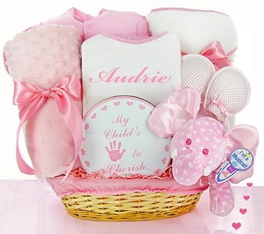 Minky Dots Pink Personalized Gift Basket - Great Gift