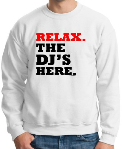 Relax The Dj'S Here Crewneck Sweatshirt Small White