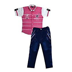 Colors Kids Shirt T-Shirt And Pant Combo Pack For Boys(4 - 5 Years)