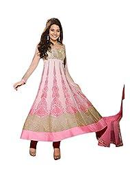 Trendz Apparels Pink Net Georgette Anarkali Suit Salwar Suit