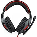 Sades SA-902 7.1 Surround Sound Cobra Gaming Heaset Headphones with Mic and Remote for PC Laptop (Black & Red)