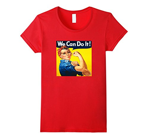 Women's Women's Rosie The Riveter We Can Do It Retro WW2 Tee T-Shirt Medium Red (We Can Do It T Shirt compare prices)
