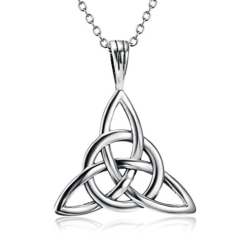 925 Sterling Silver Good Luck Irish Celtic Knot Triangle Vintage Pendant Necklaces, Rolo Chain