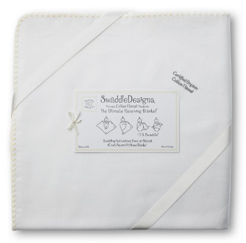 Swaddledesigns Organic Ultimate Receiving Blanket, Ivory With Color Trim, Cream
