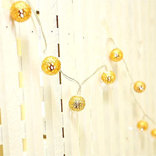 Excelvan Golden Metal Globe Ball Fairy Lantern String Lights 30LED Decoration lighting Indoor and Outdoor light with Battery Operated(10ft,White) (Outdoor Lantern Lighting String compare prices)