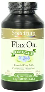 Spectrum Essentials Flax Oil, 1000 mg SoftGels, 250 Count Bottle