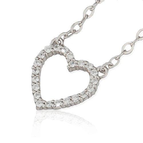 RISAcrystal(リサクリスタル) オープンハート ネックレス ダイヤモンドcz 18金 K18 ホワイトゴールド