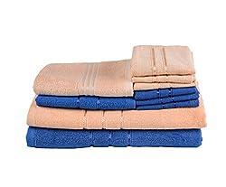 Towel Town Set of 10 Ecospun Towels (2BT + 2 HT + 6 FT) Royal Blue & Orange