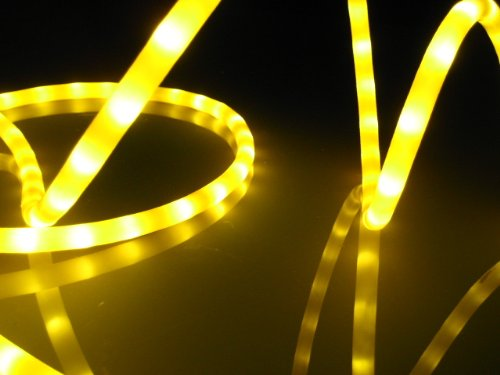 "50Ft Rope Lights; Golden Yellow Led Rope Light Kit; 1.0"" Led Spacing; Christmas Lighting; Outdoor Rope Lighting"