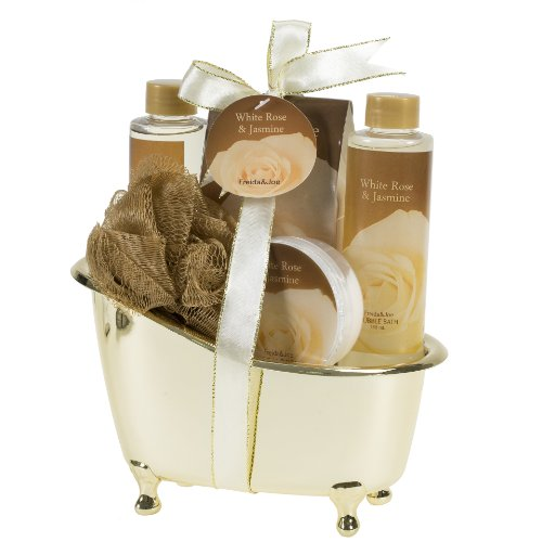 White Rose Jasmine Gold Tub Spa Bath Gift Set Bath Beauty Set