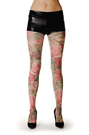 Floral Opaque Pantyhose (Tights) at Amazon Women's Clothing store