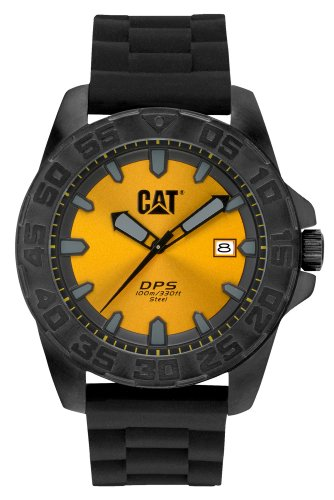 Cat Men's Quartz Watch with Yellow Dial Analogue Display and Black Rubber Strap PN.161.21.421