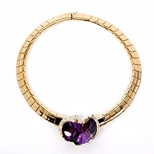 Designer Diamond Amethyst 18k Gold Heavy Pendant Necklace