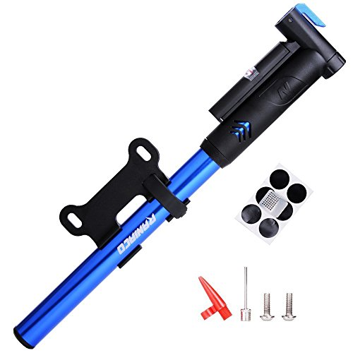 Mini Bike Pump,Raniaco 120PSI Portable Bicycle Frame Pump with Gauge,High Pressure Cycling Pump for Presta & Schrader,With Tire Patch Kit and Ball & Balloon air Inflation Needles (Portable Air Pump Bicycle compare prices)